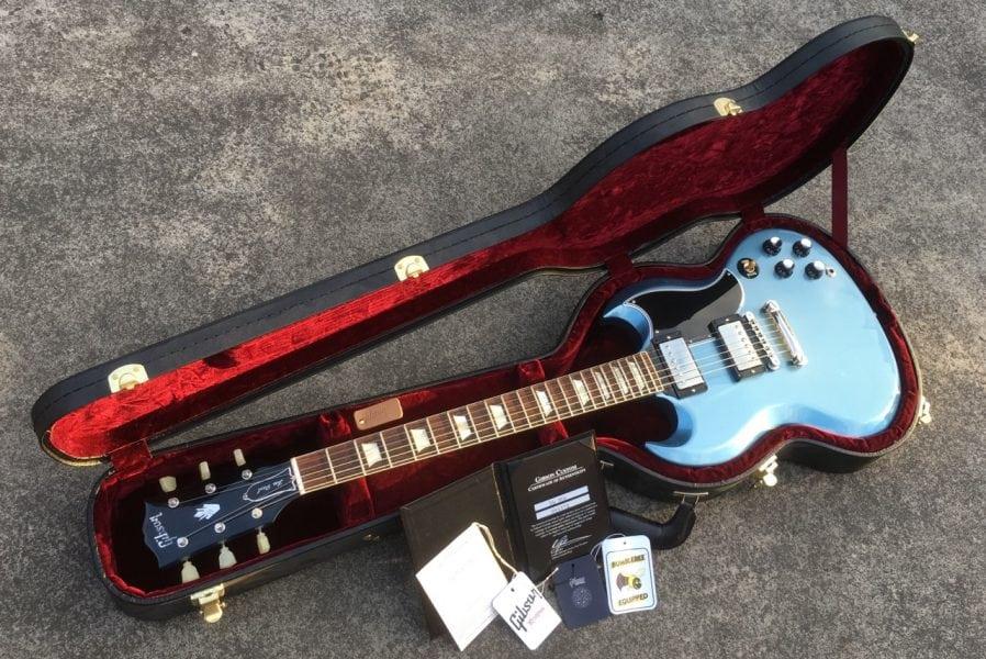 S:H Gibson SG 1962 Reissue 'Les Paul' Pelham Blue in case