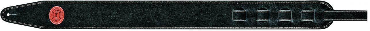 Steph Accessories Thick antique leather strap, contrast stitch, 7 cm wide - Black