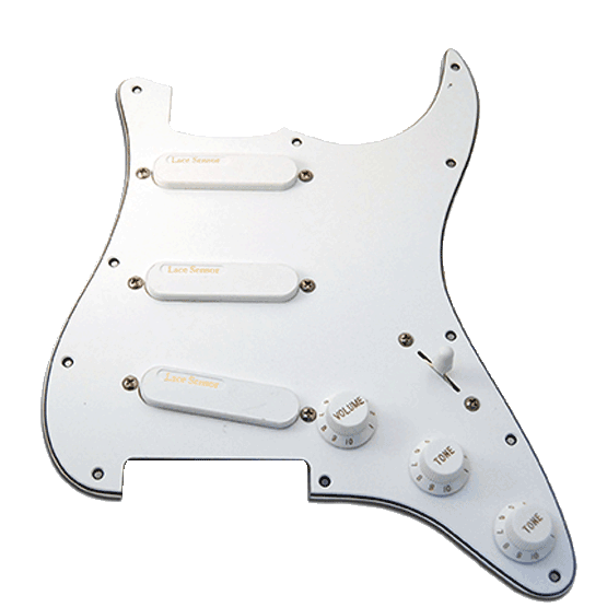Lace Sensor Pickups Gold Loaded Stratocaster Pickguard 3 Ply White